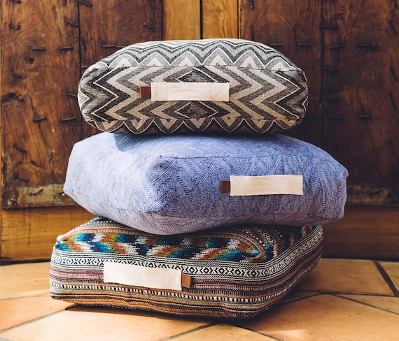 Large box shaped floor cushion pouf zig zag blue pattern
