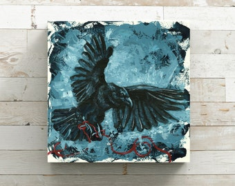 Crow Art - Crow Print - Gothic Art - Blue Crow Art - Bird Art - Dark Art Print - Crow Canvas - Blue Home Decor - Morbid Art - Dark Crow Art