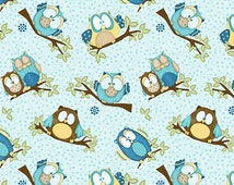Henry Glass Whoo Me? by Shelly Comiskey 6278 11 Blue Owl Toss  / 1/2 Yard and Fat Quarter cuts