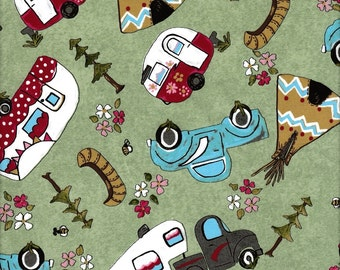 Glamping Gypsies / Camping Fabric / Camper Fabric  / Vintage Camper Fabric 1860-5 / Camping Fabric  / By The Yard and Fat Quarters