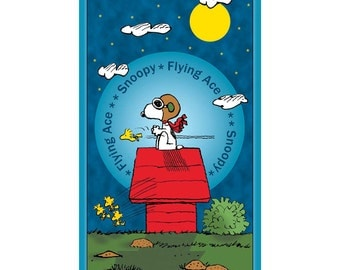 Snoopy Flying Ace Panel / Snoopy & Woodstock Fabric Panel / 24010-B - Peanuts Quilt Panel / Quilting Treasures - Cotton Fabric