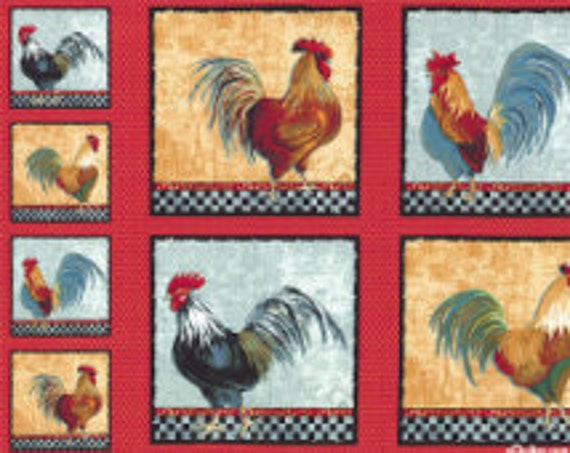 Country Kitchen Roosters Quilt Fabric Panel By Windham