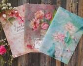 Notebooks pack, floral art notebooks handmade journal, gift for her, traveler journal, cute notepad illustrated, romantic flowers notebooks
