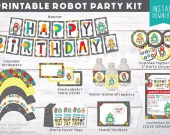 Robot Party Kit - Robot Birthday Party - Robot Party Decor - Robot Printable - Third Birthday Decor - Fourth Birthday Theme