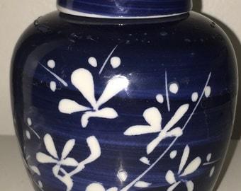 Petite Asian Blue White Ginger Jar