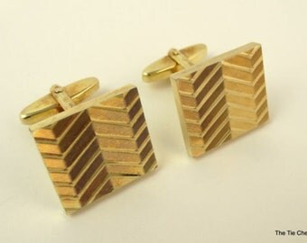 Vintage Cufflinks Square Textured Gold Tone Signed AMDBL Cuff Links