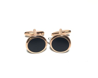 Onyx Rose Gold Cufflinks in Box, Wedding Gifts, Groomsmen's Gifts