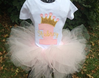 Princess Birthday tutu outfit -pale pink and gold - first birthday, second, third, fourth, fifth, sixth birthday