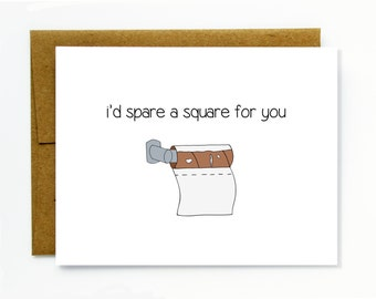 Funny Valentine's Day Card for Boyfriend or Husband/ Funny Birthday Card / Funny Anniversary Card / Boyfriend Card - I'd Spare a Square
