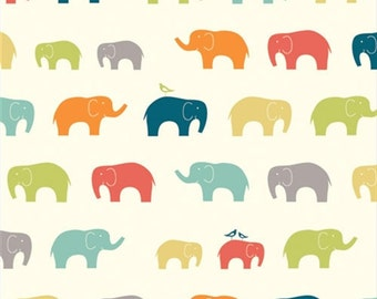 Organic Fabric Sale! Birch Organic Cotton Quilting Fabric: Elephants; Ellie Fam Multi