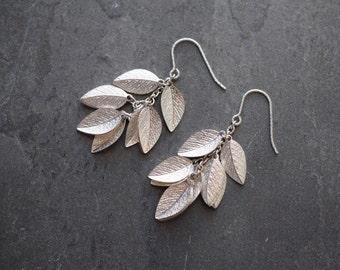 Sterling silver earrings,silver leaf earrings,silver dangle earrings,large silver earrings,silver drop earrings,silver leaf drop earrings
