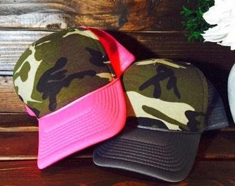 Camo, camo hat, camo trucker hat, camo fashion, hunting hat, hunting trucker hat, camo snapback, snapback camo, pink camo