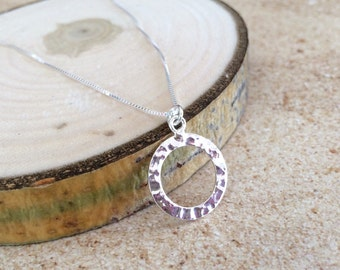 Hammered Silver Necklace, Silver Necklace, Hammered Pendant Necklace, Silver Pendant Circle Necklace