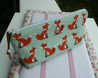Pencil case fox pen holder cute pencil case pouch with fox fabric zippered pouch zipper pencil case Back to school