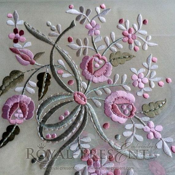 Machine embroidery design flower bouquet in