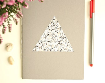 Marble Notebook  * Stone Journal * Grey Notebook * Marble Diary * Stone * Marble Gift * Marble * Grey and Marble * Triangle * Geometric