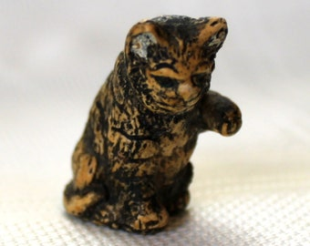 """1800's Antique Tabby Cat Miniature - Paw Up Ready For Play - 1 & 1/2"""" - Charming Cat Figure"""