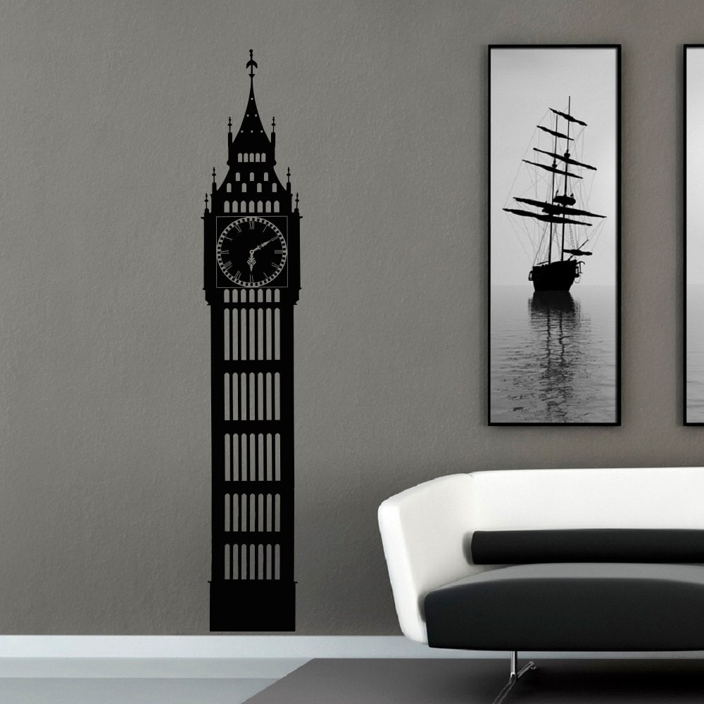Big ben wall decal london skyline silhouette decals murals for Black and white london mural wallpaper