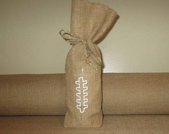 Burlap Football Bottle bag.  Football lace bottle bag.  Gift bottle wrap