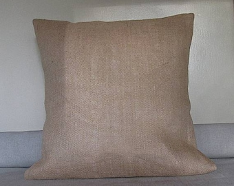 Natural Burlap pillow cover blank.   Decorative pillow cover blank.  Square pillow cover
