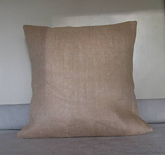 Natural Burlap pillow cover blank. Decorative pillow cover