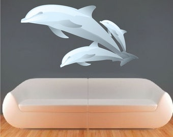 Dolphins Wall Decals Dolphin Wall Mural Applique Dolphin Room Stickers and Murals Dolphin Decor Dolphin Wallpaper, Kids Dolphin Walls, n12