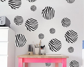 Zebra Dots Decals, Girls Bedroom Zebra Print Decals, Girls Zebra Print  Decals, Dot Wall Murals, Zebra Wall Stickers, Sticker Wall Decal, n11
