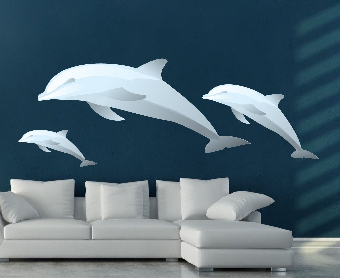 Dolphins wall decals dolphin wall mural applique dolphin for Dolphins paradise wall mural