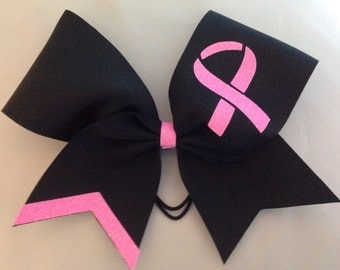 Breast Cancer awareness customizable Black cheer Bow