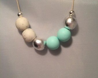 Mint Green, White & Silver Polymer Clay Beaded Necklace