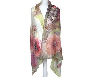 Silk shawl women - Painted scarf - Beach cover up - Beach cover scarf - Beach sarong - Women scarf gift - Silk sarong - Beach wrap