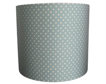 Handmade drum lampshade with soft green polka dot linen-look fabric