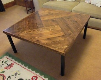 Beautiful Solid Wood Square Coffee Table Chevron Pattern Hairpin or Square Legs