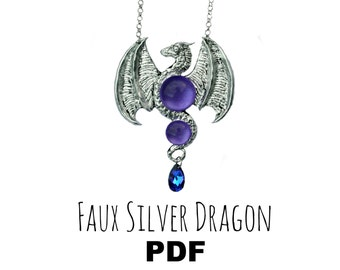 Polymer Clay Tutorial: Faux Silver Dragon PDF Gothic Fantasy Alchemy Jewellery/Jewelry Pendant Necklace DIY Silver Purple Blue Gift Making