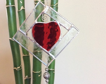 Stained Glass Red Heart Sun Catcher