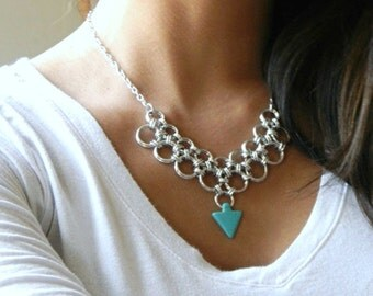 Silver Chain Mail Necklace, Chain Maille Jewelry, Silver Necklace, Turquoise Necklace, Chainmail Gift, Chainmail Necklace, Teal Jewelry
