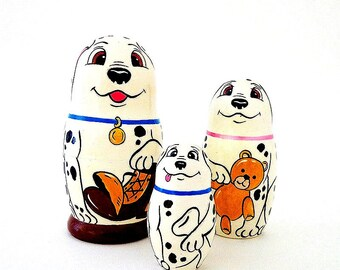 Dalmatians Matryoshka Dolls, wooden russian 3pcs set nesting dolls