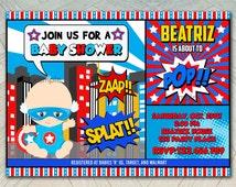 baby shower captain america baby avenger baby invitation printable