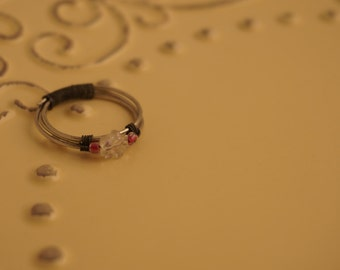 Flower Beaded Wire Ring