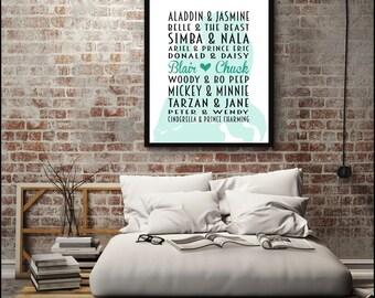 Personalised Disney Couples Print / Disney Lovers Gift / Disney Characters Print / Walt Disney Print / Disney Gift / Disney Art