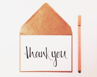 A6 thank you calligraphy card - folded greetings card