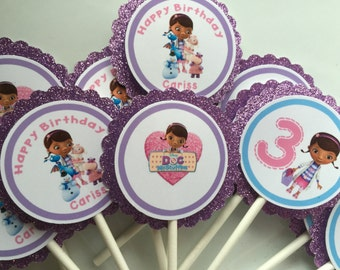 12 personalized Doc mcstuffins cupcake toppers. Doc mcstuffins party. Doc mcstuffins birthday.