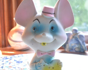 vintage kitschy mouse with cheese rubber squeak toy by Alan Jay