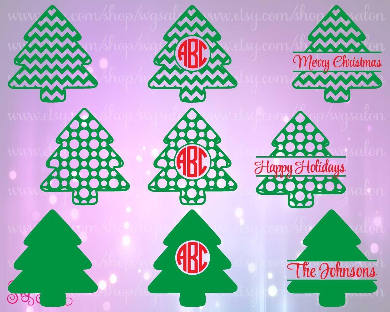 Chevron And Polka Dot Christmas Tree Circle / Split By