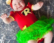 Robin Inspired Pettiskirt Dress With Headband Newborn To 18 Months - Halloween Outfit- Baby Halloween Outfit