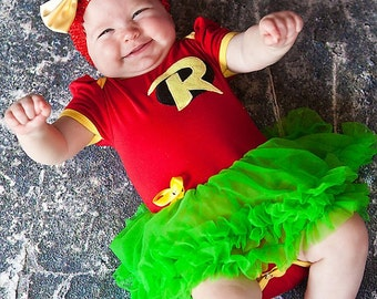 Robin Inspired Pettiskirt Dress With Headband Newborn To 18 Months - Halloween Outfit- Baby Halloween  sc 1 st  Etsy & Baby halloween outfit | Etsy