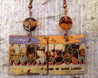 Up-cycled Minnesota State Postcard Earrings, decoupage earrings, cereal box earrings