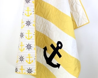Yellow Nautical Baby Quilt, nautical baby bedding, Yellow Nautical nursery, nautical crib bedding, nautical quilts in soft colors.