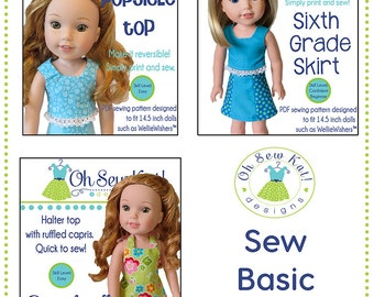Wellie Wishers Doll Clothes PDF Sewing 3 Pattern Bundle for 14 in American Girl ® Doll Clothes 3 patterns easy to sew by Oh Sew Kat!