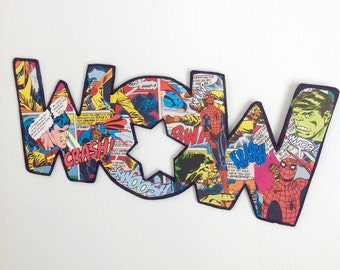 Cardboard letters, superhero wall art, collage letters, comic book letters Hulk, collage art WOW, marvel letters, 70's vintage comic book.